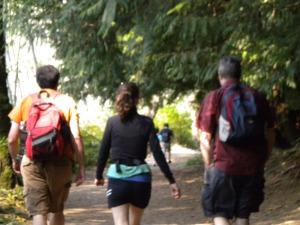 My friends walking ahead of me on a gentle hike on Bowen Island B.C.